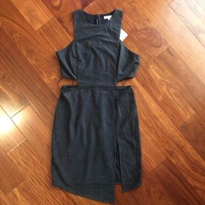 Juniors' Gianni Bini Navy Suede Cut-Out Dress
